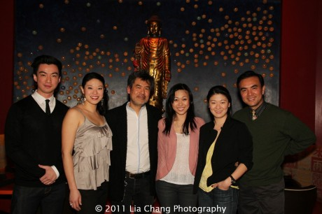 Johnny Wu, Christine Lin, David Henry Hwang, Angela Lin, Jennifer Lim and Larry Lei Zhang at Ruby Foo's Dim Sum Sushi Palace in New York on January 20, 2012.  Photo by Lia Chang