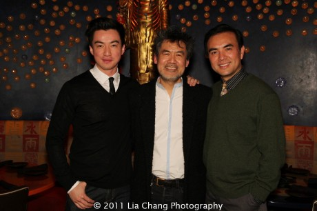 Johnny Wu, David Henry Hwang and Larry Lei Zhang at Ruby Foo's Dim Sum Sushi Palace in New York on January 20, 2012. Photo by Lia Chang