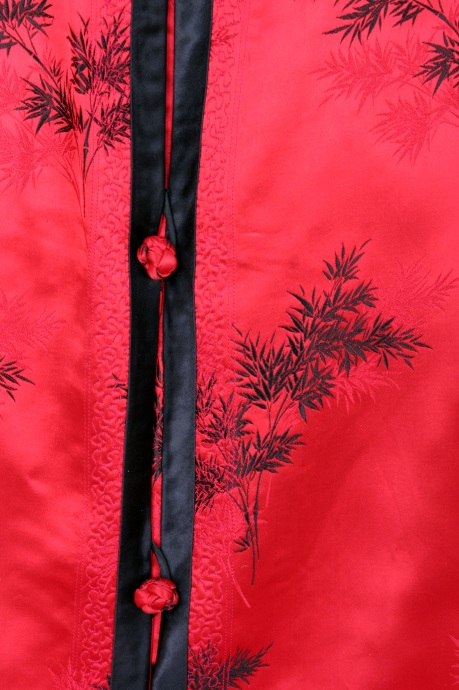 Detail of Traditional Red Silk Chinese Robe, circa 1950, 2009. (Lia Chang)