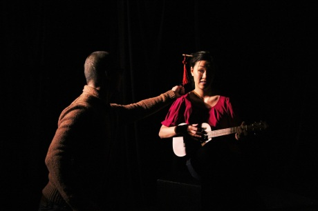 BD Wong directs Cindy Cheung in SPEAK UP CONNIE. Photo by Lia Chang