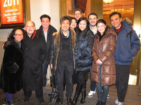 Chinglish playwright David Henry Hwang (center) is flanked by (l-r) his cultural advisors Joanna C. Lee and Ken Smith, actors Johnny Wu, Christine Lin, Gary Wilmes, Angela Lin, Stephen Pucci, Jennifer Lim and Larry Lei Zhang after the 100th performance of Chinglish on Broadway at the Longacre Theatre in New York on January 5, 2012.  Photo by Lia Chang