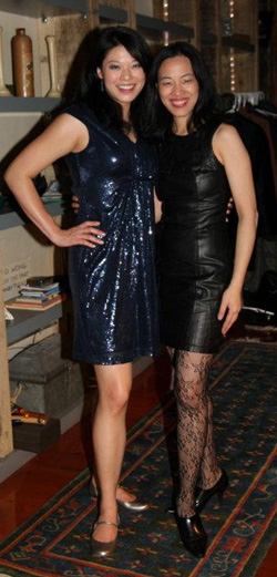Christine Lin and Lia Chang celebrate New Year's Eve in New York on December 31, 2011.