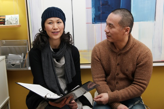 Cindy Cheung reviews her script with her director BD Wong. Photo by Lia Chang