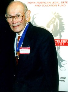 Justice in Action honoree Fred Korematsu at the Asian American Legal Defense and Education Fund Lunar New Year benefit at Pier Sixty at Chelsea Piers in New York, on February 22, 2002. Photo by Lia Chang