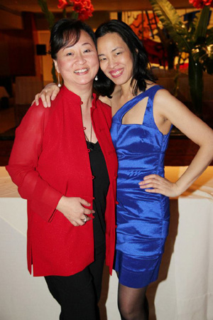 Joanna C. Lee and Lia Chang at the Broadway opening night party of David Henry Hwang's Chinglish at Brasserie 8 1/2 in New York on October 27, 2011.