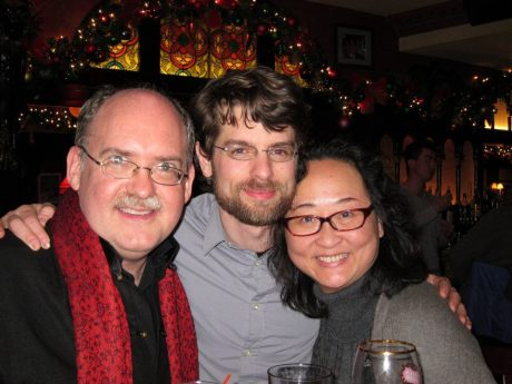 Ken Smith, Hong Kong-based composer Eli Marshall (Ashes of Time Redux) and Joanna C. Lee after the 100th performance of David Henry Hwang's Chinglish in New York on January 5, 2012.  Photo by Lia Chang
