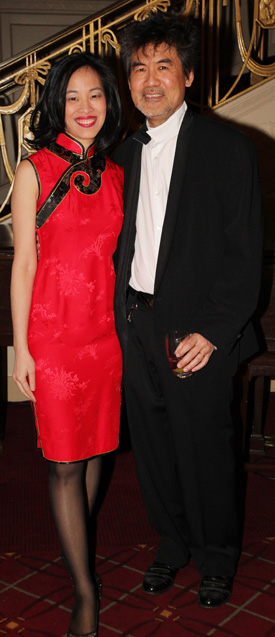 Lia Chang and David Henry Hwang at the Waldorf Astoria Hotel in New York on January 11, 2012. Hwang received the 2011 Asia Society Cultural Achievement Award at the Asia Society Gala Benefit. (Rachel Cooper)