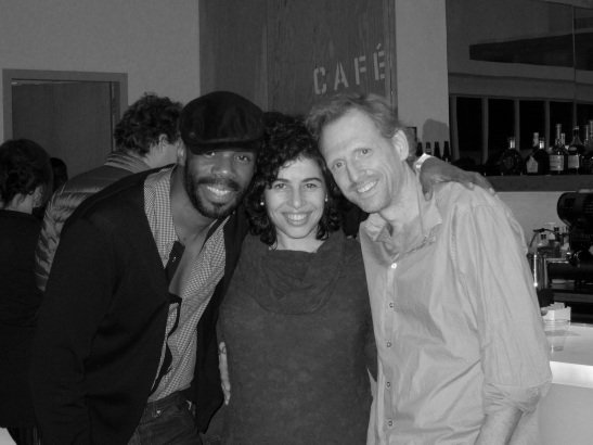BLOOD KNOT's Colman Domingo, dialect coach Barbara Rubin and Scott Shepherd at The Pershing Square Signature Center in New York on February 13, 2012. Photo by Lia Chang