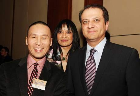 Actor BD Wong, AALDEF Executive Director Margaret Fung, Preet Bharara, U.S. Attorney for the Southern District of New York. Photo by Lia Chang