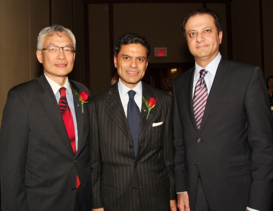 AALDEF Justice in Action 2012 honorees Parkin Lee of The Rockefeller Group and CNN Host Fareed Zakaria with Preet Bharara, the US Attorney for the Southern District of New York. Photo by Lia Chang