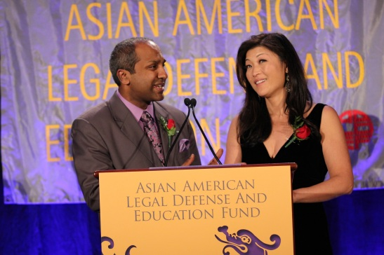 AALDEF co-emcees Sree Sreenivasan and Juju Chang. Photo by Lia Chang