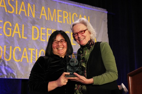 AALDEF Justice in Action 2012 honoree Yale Law Professor Jean Koh Lee, with presenter Susan Bryant of CUNY Law School. Photo by Lia Chang