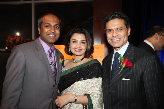 AALDEF co-emcee Sree Sreenivasan with his wife Roopa and AALDEF Justice in Action 2012 honoree CNN Host Fareed Zakaria. Photo by Lia Chang