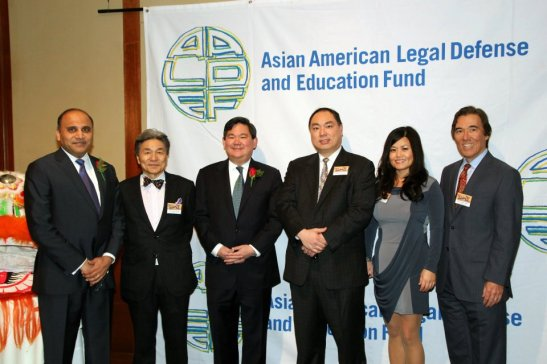 The AALDEF Board of Directors: Ayaz R. Shaikh, Ko-Yung Tung, Tommy Shi,  Denley Y. Chew, Lauren U.Y. Lee, Phil Nash. Photo by Lia Chang