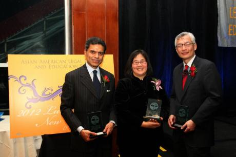 AALDEF Justice in Action 2012 honorees, CNN Host Fareed Zakaria, Yale Law School Professor Jean Koh Peters and Parkin Lee of The Rockefeller Group. Photo by Lia Chang. Photo by Lia Chang