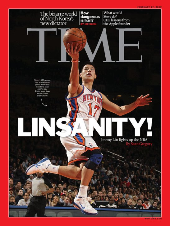 Jeremy Lin on the cover of Time Magazine (Asia).