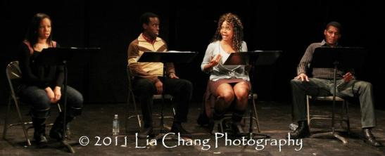 Toccarra Cash, Matthew Murumba, Tonya Pinkins and Billy Eugene Jones. Photo by Lia Chang
