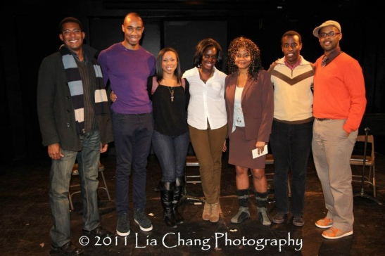 Billy Eugene Jones, Jamyl Dobson, Toccarra Cash, Camille Darby, Tonya Pinkins, Matthew Murumba and Christopher Burris. Photo by Lia Chang