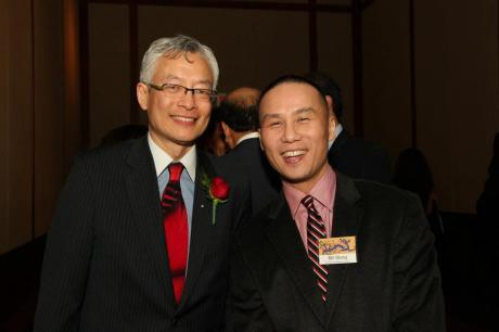 Honoree Parkin Lee with AALDEF favorite and past honoree BD Wong. Photo by Lia Chang