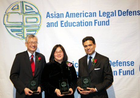 AALDEF Justice in Action 2012 honorees, Parkin Lee of The Rockefeller Group, Yale Law School Professor Jean Koh Peters, and CNN host Fareed Zakaria. Photo by Lia Chang