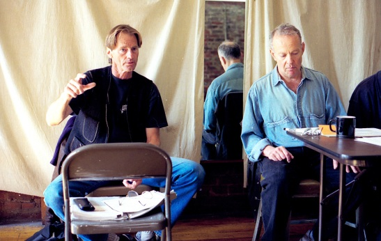 Playwright Sam Shepard and director Joe Chaikin in rehearsal for Signature Theatre's production of Chicago at 42nd Rehearsal Studios in September 1996.  Photo by Lia Chang