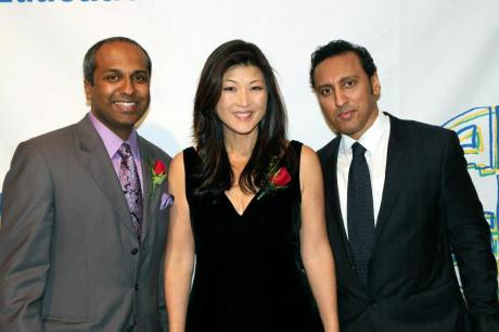 AALDEF co-emcees Sree Sreenivasan and Juju Chang and Special Guest The Daily Show's Aasif Mandvi...before they kept the audience laughing all night. Photo by Lia Chang