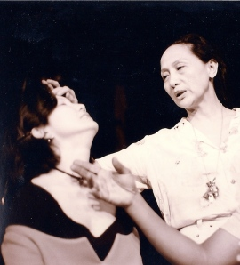 Suzen Murakoshi and longtime collaborator Ching Valdes-Aran on the set of Slippery When Wet at La MaMa E.T.C. in New York, in 1994. Photo by Lia Chang
