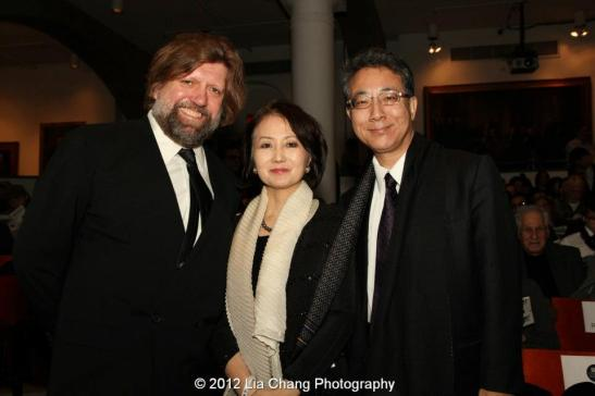 Oskar Eustis, artistic director of The Public Theater and His Excellency and Madame Shigeyuki Hiroki, Ambassador & Consul General of Japan in New York. Photo by Lia Chang