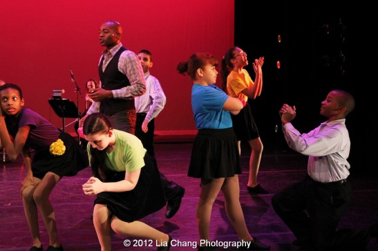 Brandon Victor Dixon and Rosie's Theater Kids. Photo by Lia Chang