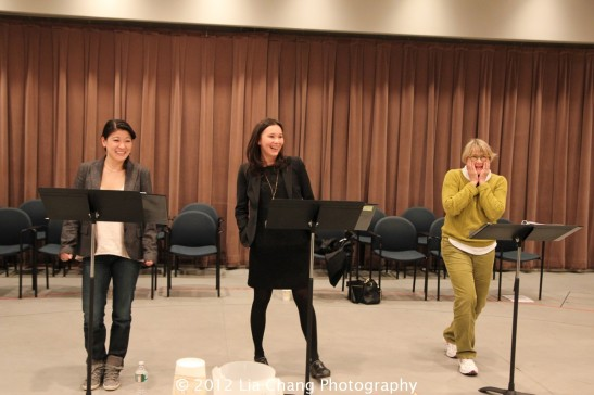 "Jennifer Lim, Stacey Yen and Mary Beth Hurt in The Length of This Play Has the Half Life of Uranium, a ""forever"" play for Japan on 3.11 by Suzan-Lori Parks. Photo by Lia Chang"