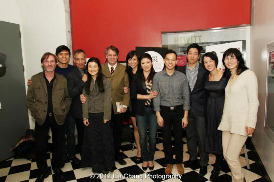 Richard Thomas, Paolo Montalban, Thom Sesma, Olivia Oguma, Barlett Sher, Angela Lin, Jennifer Lim, Jon Norman Schneider, Peter Kim, Michi Barall and Kumiko Shinohara at Shinsai: Theatres for Japan, a benefit commemorating the devastating earthquake that struck the country one year ago, was presented March 11, 2012, at the Great Hall at Cooper Union in New York. Photo by Lia Chang