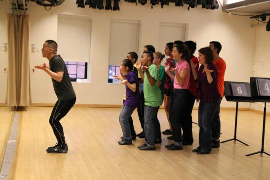 BD Wong rehearses with Rosie's Theater Kids at the Maravel Arts Center on 445 W. 45th St. in New York on March 17, 2012. Photo by Lia Chang