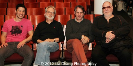 James Yaegashi, Pacific Overtures' librettist John Weidman, director Bartlett Sher and musical director Paul Gemignani. Photo by Lia Chang