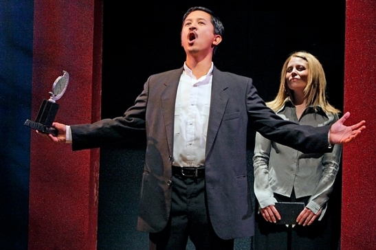Randy Reyes and Kim Kivens in The Guthrie presentation of a Mu Performing Arts production of Yellow Face, by David Henry Hwang. Photo by Michal Daniels