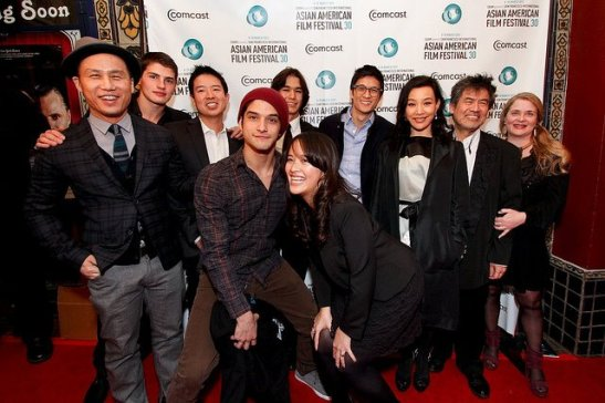 Cast and crew of White Frog — with BD Wong, Gregg Sulkin, Quentin Lee, Tyler Posey, Boo Boo Stewart, Harry Shum Jr., Ellie Wen, Joan Chen, David Henry Hwang, Kathryn Layng at the Castro Theatre in San Francisco on March 8, 2012. Photo by Michael Jeong/Courtesy of SFIAAFF