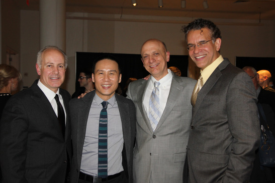 Joe Benincasa, executive director of The Actors Fund, BD Wong, honoree Tom Viola, executive director Broadway Cares/Equity Fights Aids, and Brian Stokes Mitchell. Photo by Lia Chang