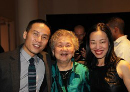 BD Wong with his mom Roberta and Lia Chang. Photo by Richert Schnorr