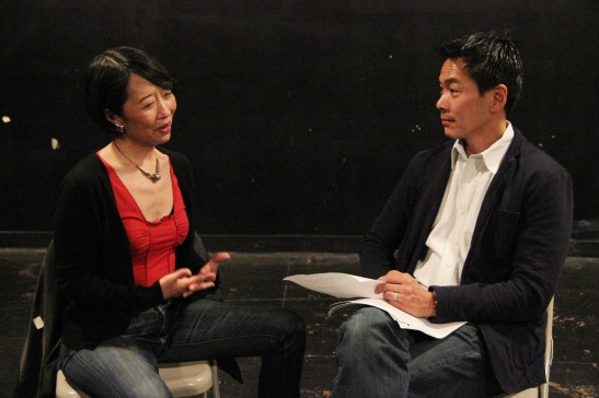 Playwright Jeanne Sakata with Joel de la Fuente, who portrays Gordon Hirabayashi in her play Hold These Truths, in rehearsal at 440 Studios in New York on May 10, 2012. Photo by Lia Chang
