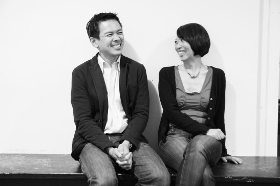 Joel de la Fuente, who portrays Gordon Hirabayashi in Hold These Truths, with playwright Jeanne Sakata in rehearsal at 440 Studios in New York on May 10, 2012. Photo by Lia Chang