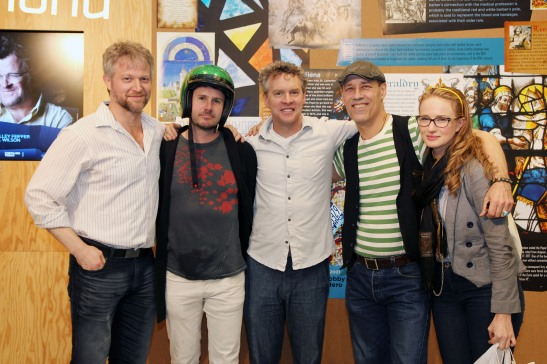 Medieval Play castmembers C.J. Wilson, Josh Hamilton, Tate Donovan, Kevin Geer and Halley Feiffer. Photo by Lia Chang