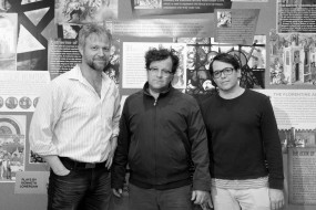 C.J. Wilson, Medieval Play playwright/director Kenneth Lonergan and Matthew Broderick at The Signature Pershing Square Center in New York on May 12, 2012. Photo by Lia Chang