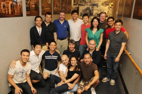 The cast and creative team of Jason Ma's Gold Mountain, directed by Christine Toy Johnson, outside rehearsal studio D in the Actor's Equity Association Lounge in New York on May 14, 2012. Photo by Lia Chang