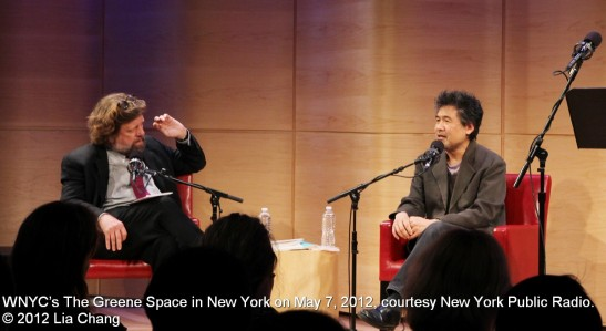 Oskar Eustis, Artistic Director of The Public Theater interviews David Henry Hwang at WNYC's The Greene Space in New York on May 7, 2012, courtesy New York Public Radio. © 2012 Lia Chang