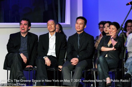 Brian d'Arcy James, Francis Jue, BD Wong and  Jennifer Lim  at WNYC's The Greene Space in New York on May 7, 2012, courtesy New York Public Radio. © 2012 Lia Chang