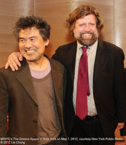 David Henry Hwang and Oskar Eustis at WNYC's The Greene Space in New York on May 7, 2012, courtesy New York Public Radio. © 2012 Lia Chang