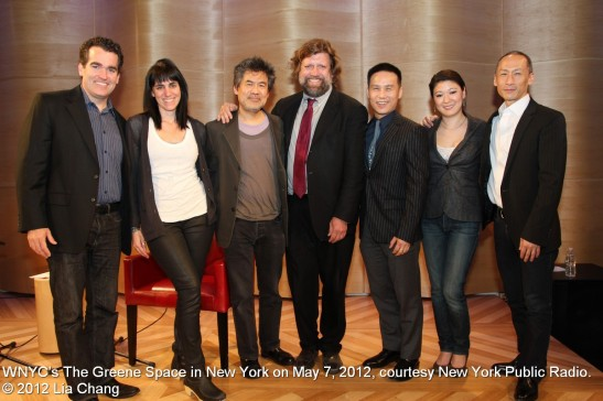 Brian d'Arcy James, Leigh Silverman, David Henry Hwang, Oskar Eustis, BD Wong, Jennifer Lim and Francis Jue at WNYC's The Greene Space in New York on May 7, 2012, courtesy New York Public Radio. © 2012 Lia Chang