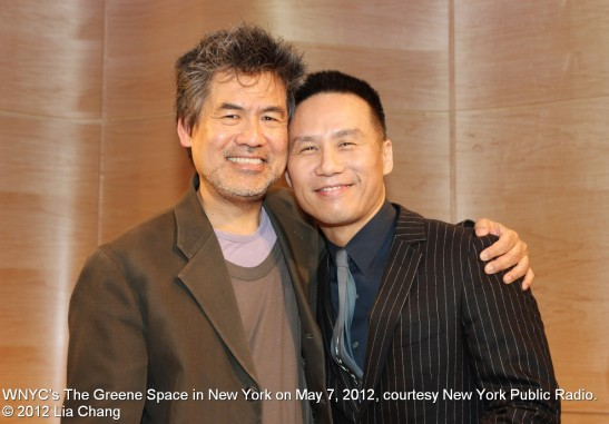 David Henry Hwang and BD Wong at WNYC's The Greene Space in New York on May 7, 2012, courtesy New York Public Radio. © 2012 Lia Chang