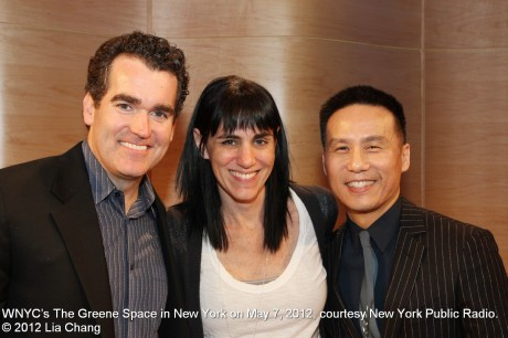 Brian D'Arcy James, Leigh Silverman and BD Wong at WNYC's The Greene Space in New York on May 7, 2012, courtesy New York Public Radio. © 2012 Lia Chang
