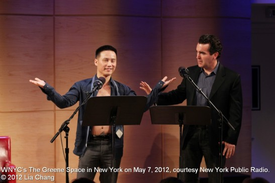 BD Wong and Brian d'Arcy James read a scene from M. Butterfly at WNYC's The Greene Space in New York on May 7, 2012, courtesy New York Public Radio. © 2012 Lia Chang
