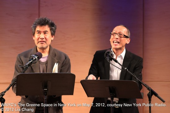 David Henry Hwang as D.H.H. and Francis Jue as H.Y.H. in a scene from Yellow Face at WNYC's The Greene Space in New York on May 7, 2012, courtesy New York Public Radio. © 2012 Lia Chang